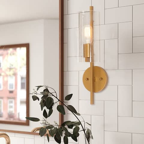 "Luxury Modern 1-light Gold Bath/Vanity Fixture with Clear Cylindrical Glass Shade - 4.7""L x 5.1""W x 17.1""H"
