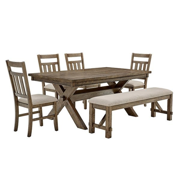 Chester 6 Piece Rustic Farmhouse Dining Set Overstock 7731095