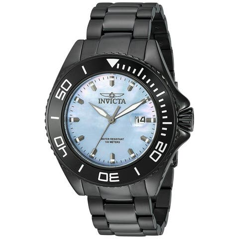 Invicta Men's Pro Diver Japanese-Quartz Watch With Mother Of Pearl Face & Stainless Steel Strap - Black