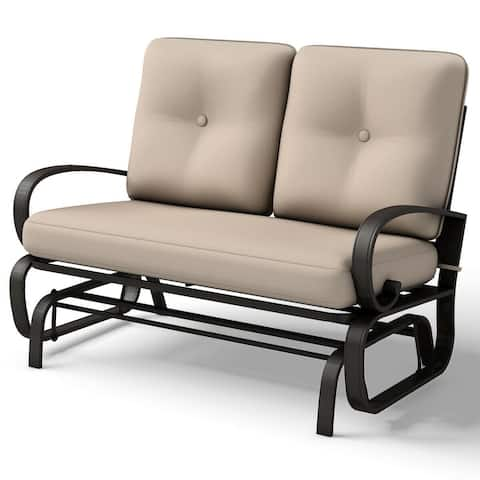 Costway Glider Outdoor Patio Rocking Bench Loveseat Cushioned Seat