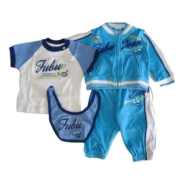 FUBU Baby Boys Blue Embroidered Bib Raglan Shirt Tracksuit 4 Pc Set 12-24M