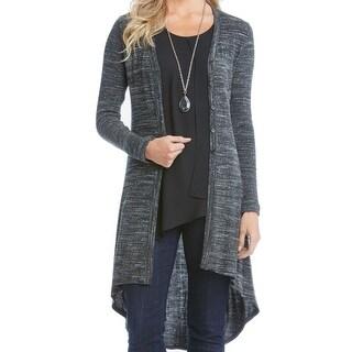 DKNY NEW Deep Black Women's Size Large L High Low Cardigan Sweater ...