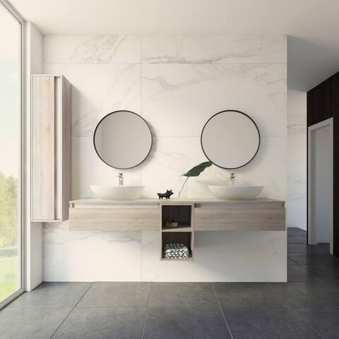 "New York 72"" Vanity Base Cabinet Weathered Oak Wood 72 X 24 X 21,5 In - Weathered Oak"