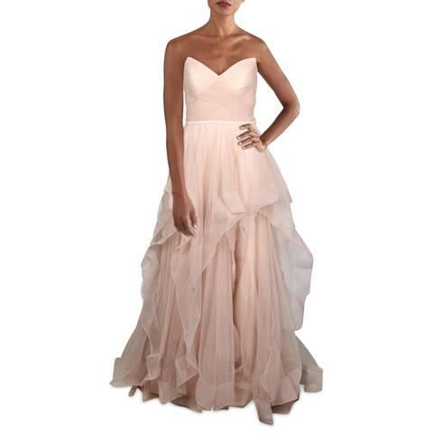 Basix Black Label Womens Evening Dress Ruffled Strapless - Pink