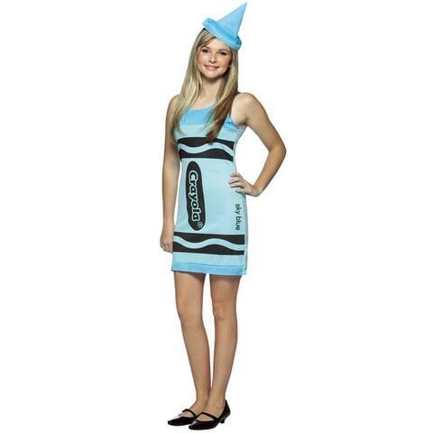 Rasta Imposta Crayola Sky Blue Tank Dress Teen Costume - Solid