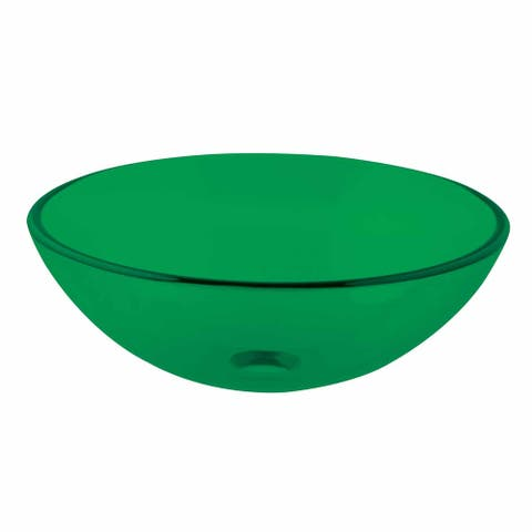 Emerald Tempered Glass Vessel Sink Bowl with Drain Renovators Supply