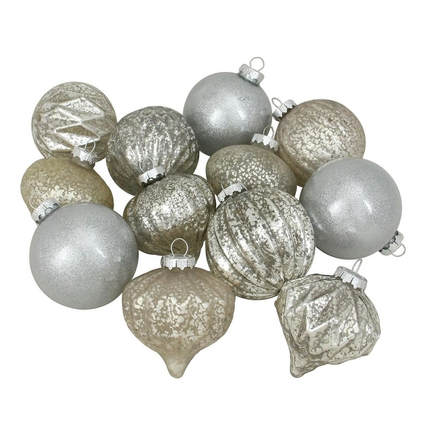 """12ct Silver Mercury Glass Christmas Glass Ball and Onion Drop Ornaments 4"""" (100mm)"""