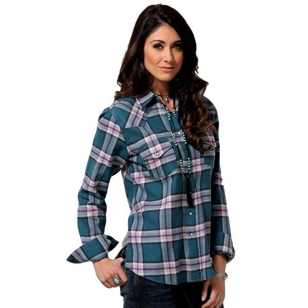 db9ba7a4921 Shop Cruel Girl Western Shirt Womens Long Sleeve Plaid Snap Teal - Free  Shipping Today - Overstock - 18414054