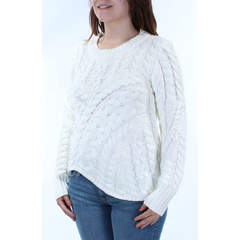 KIIND OF Womens Ivory Textured Long Sleeve Crew Neck Tunic Sweater Size: S