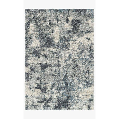 "Alexander Home Modern & Contemporary Abstract Marble Shag Area Rug - 2'3"" x 12' Runner"