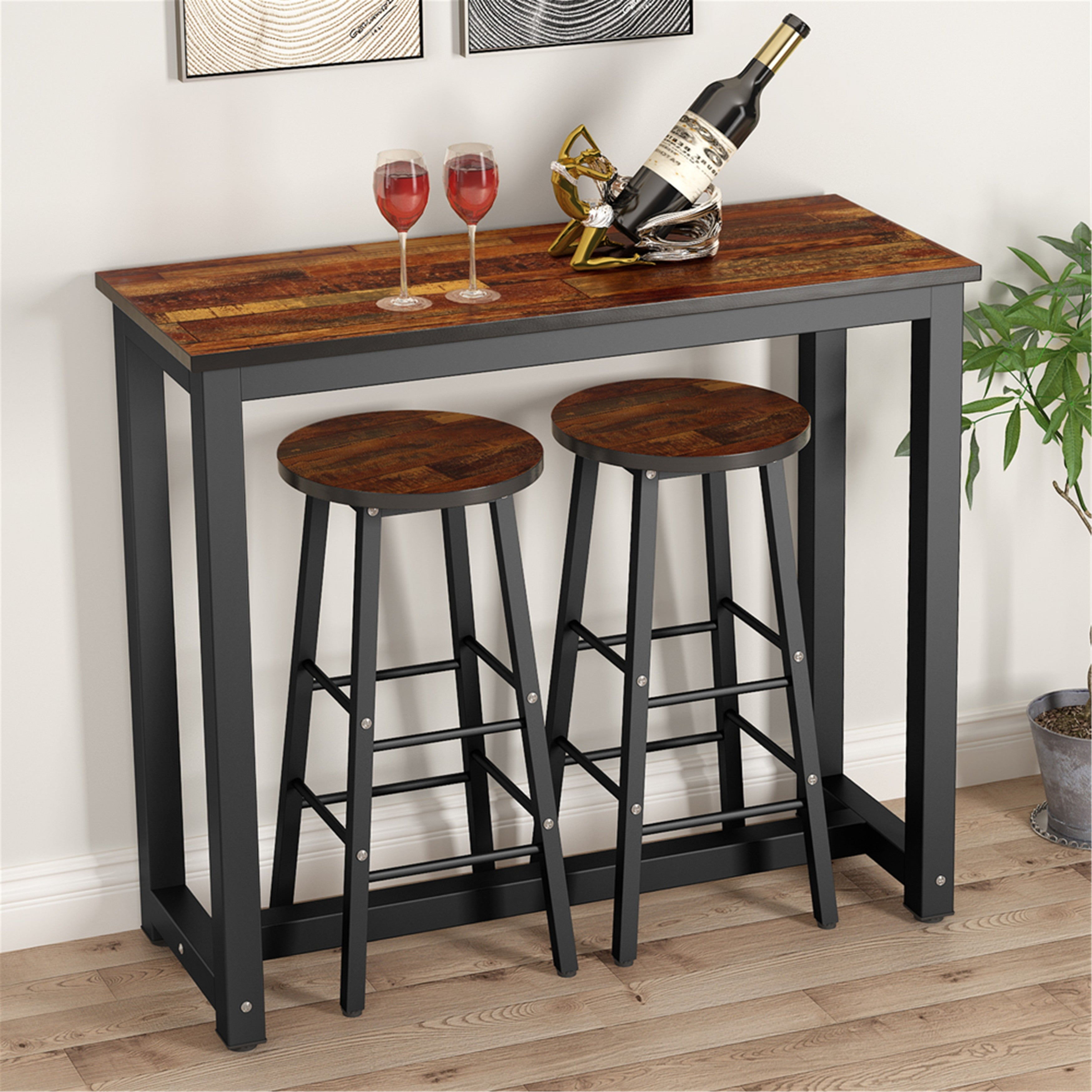 3 Piece Pub Table Set Counter Height Dining Table Set With 2 Stools Overstock 28472789 Rustic Brown