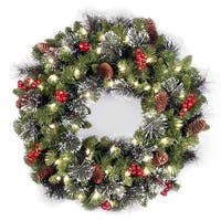 """24"""" Crestwood(R) Spruce Wreath with Clear Lights - green"""