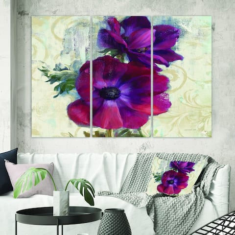 Designart 'Red Anemone Flower' Floral Farmhouse Canvas Artwork