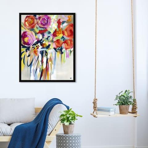 Oliver Gal 'Secret Garden' Floral and Botanical Wall Art Framed Print Florals - Orange, Pink
