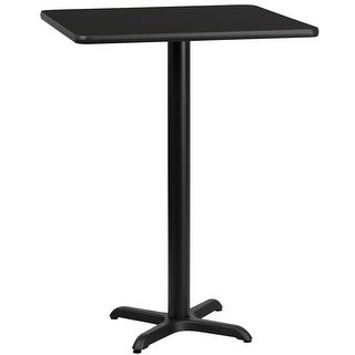 "Dyersburg 24'' Square Black Laminate Table Top w/42"" High X-Base"
