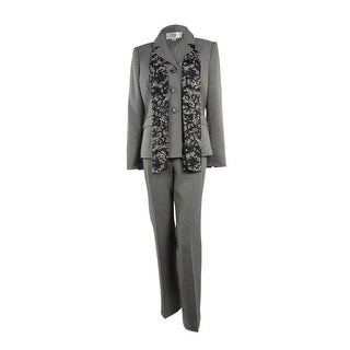 Le Suit Women's Fair Lakes Herringbone Pant Suit - Grey