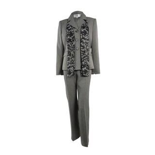 Le Suit Women's Fair Lakes Herringbone Pant Suit - Grey