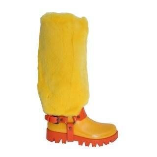Dolce & Gabbana Yellow Rubber Lapin Fur Rain Boots