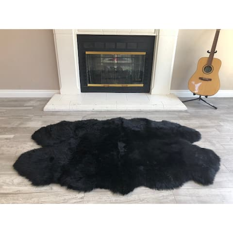 "Dynasty Natural 4-Pelt Luxury Long Wool Sheepskin Black Shag Rug - 3'6"" x 5'6"""
