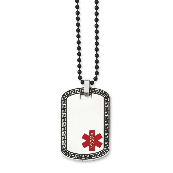 Stainless Steel Dogtag with Greek Key Edge Medical Pendant 30in Necklace (2 mm) - 30 in
