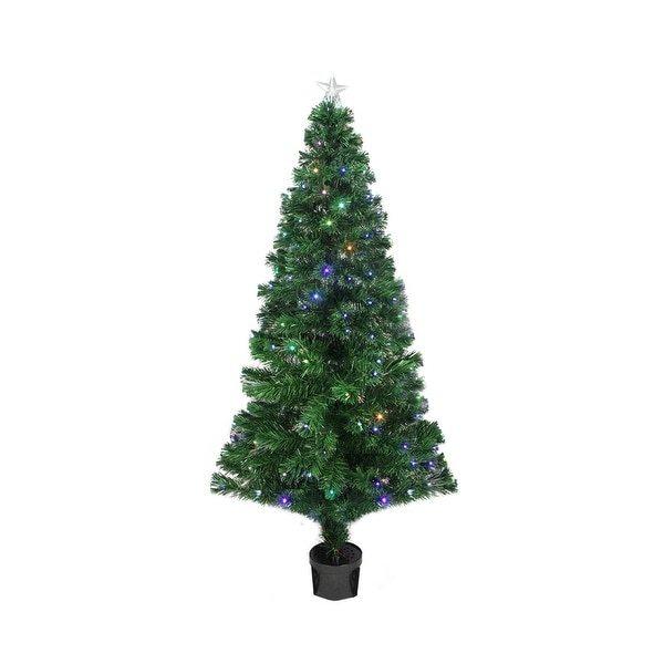 4' Pre-Lit LED Color Changing Fiber Optic Christmas Tree with Star Tree Topper - green