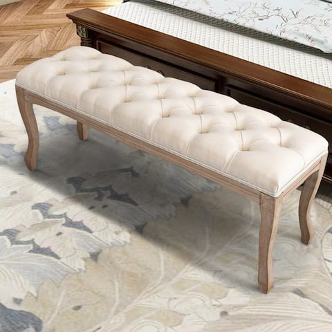 "Wood Bed Bench, Upholstered Ottoman, Tufted Bench for Bedroom Entryway - 43.31""L x 14.96""W x 18.90""H"