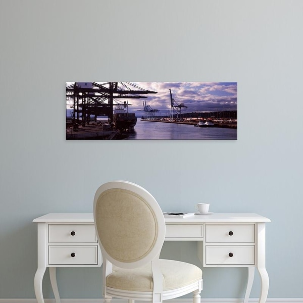 Easy Art Prints Panoramic Image 'Container ship at a commercial dock, Tacoma, Pierce County, Washington ' Canvas Art