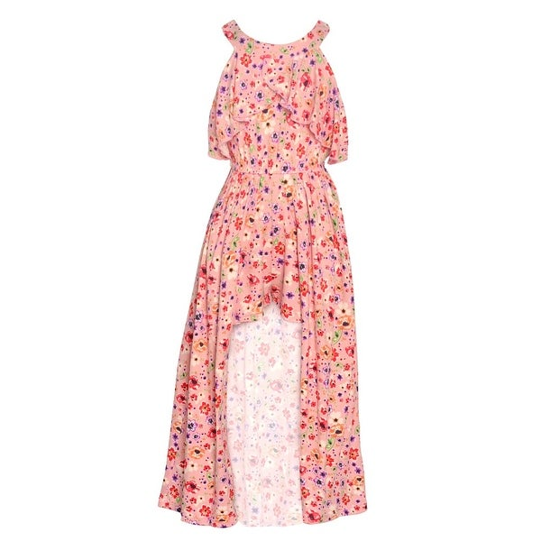9638e70e1 Shop Little Girls Blush Pink Floral Print Round Neckline Keyhole Romper  Dress - Free Shipping On Orders Over $45 - Overstock - 28123022