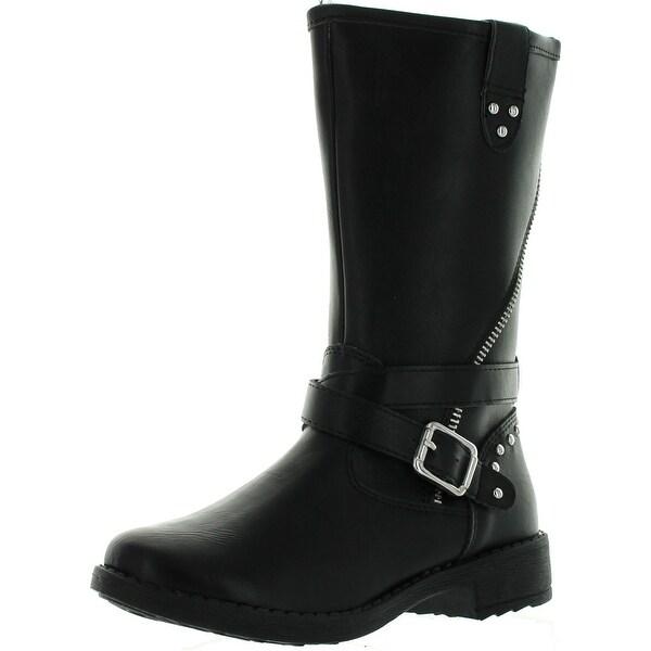 Betani Girls Elisa-2 Studded Buckle Side Zipper Flat Heel Riding Knee High Boot
