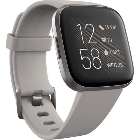 Fitbit - Versa 2 Smartwatch 40mm Aluminum - Black/Carbon with Silicone Band