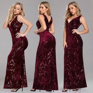 Ever-Pretty Women's Retro Sequin Velvet Burgundy Evening Party Cocktail Dress 07506