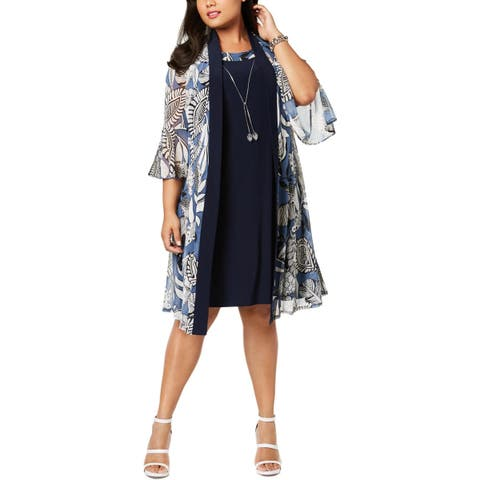 R&M Richards Womens Plus Kimono Open Front Bell Sleeve - 14W