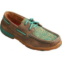 Twisted X Boots Women's Leather Driving Moc Bomber/Turquoise Leather