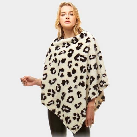 Amtal Women Faux Fur Leopard Pattern Blanket Winter Poncho