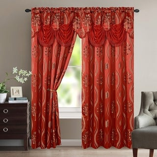 Aurora Tree Leaf Jacquard Window Panel with Attached Valance - 54x84 inches