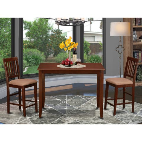Dining Set Includes Dining Table and a Set of Dinette Chairs in Mahogany Finish