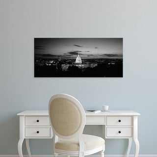 Easy Art Prints Panoramic Image 'Government building lit up at night, US Capitol Building, Washington DC' Canvas Art