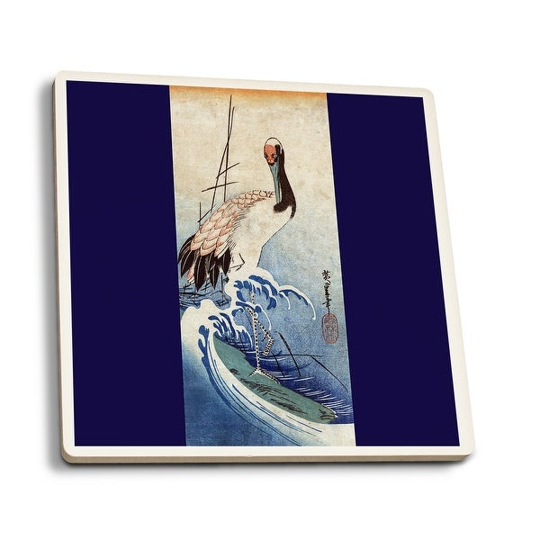 Crane in Waves - Japanese Wood-Cut (Set of 4 Ceramic Coasters)