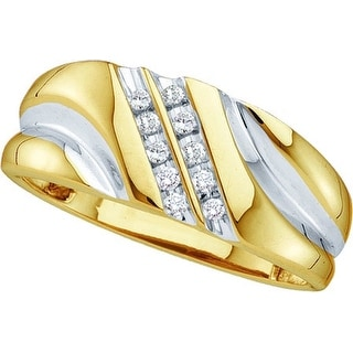 10k Yellow Gold Round Natural Diamond Mens 2-row Channel-set 2-tone Wedding Band Ring 1/10 Cttw - White