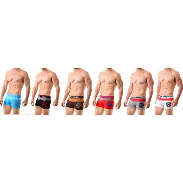 Men's Classic Lion Head Seamless Boxer Briefs Shorts Shorts Underwear  6-Pack(One Size)