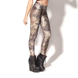 Fashion Lady Pattern Printed Maps Design Stretch Tight Leggings Skinny Pants