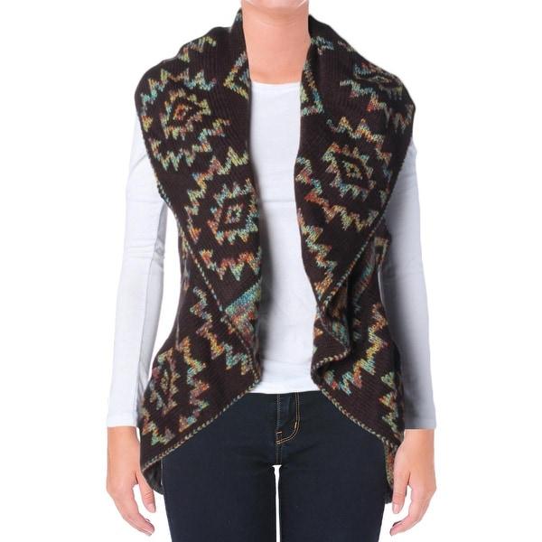 John Paul Richard Womens New Aztec Sweater Vest Reversible Open Front