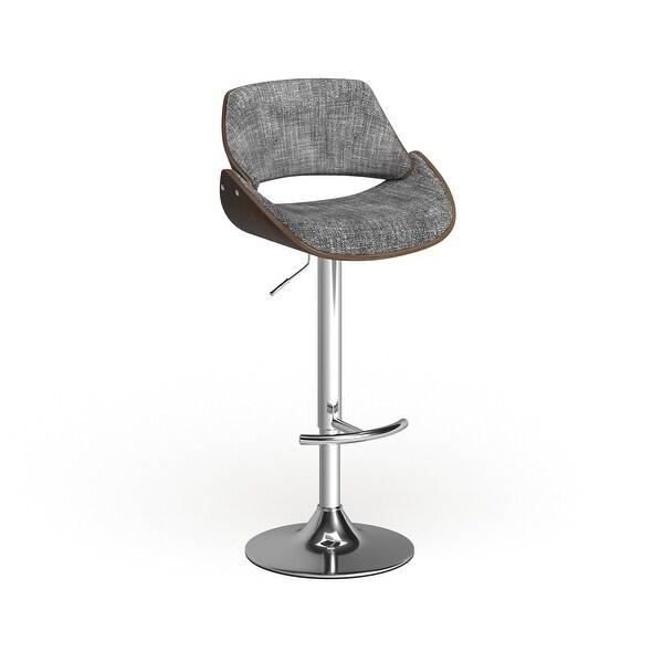 Carson Carrington Svellingen Mid-century Modern Walnut Wood and Fabric Adjustable Swivel Bar Stool