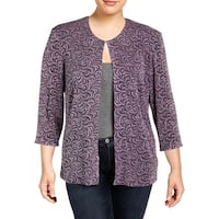 Alex Evenings Womens Plus Blazer Knit Glitter
