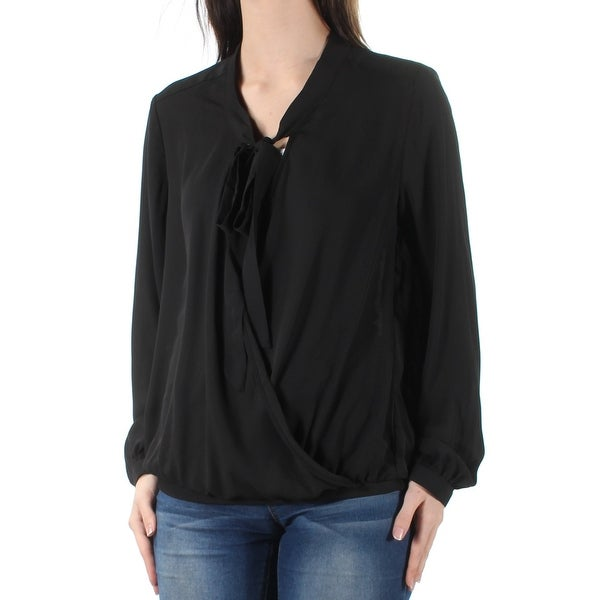NY COLLECTION Womens Black Tie Cuffed V Neck Faux Wrap Top Size: S