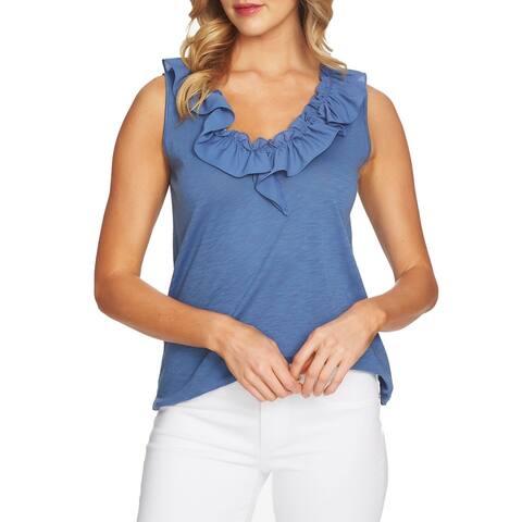 CeCe Blue Womens Size Large L Sleeveless Ruffle Neck Tank Top