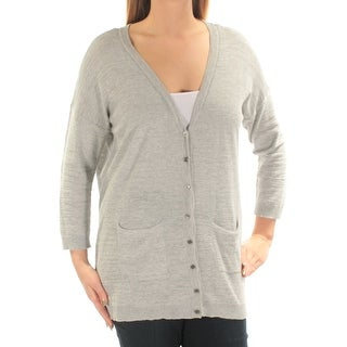 VINCE CAMUTO Womens New 1109 Gray Pocketed 3/4 Sleeve Button Up Sweater L B+B