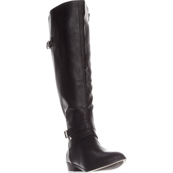 MG35 Carleigh Wide Calf Riding Boots, Black