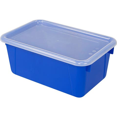 Storex small cubby bin with cover blue 62408u06c - Clear