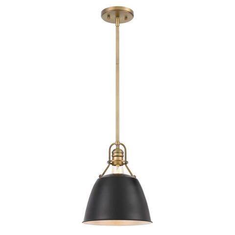 "Helmut 1-Light Vintage Brass Black Shade Pendant 10"" x10""x 12"" - Small Pendant"